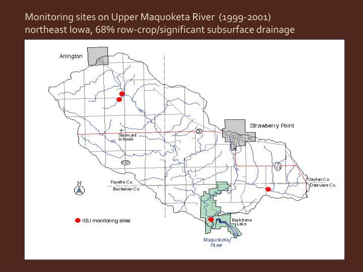 Monitoring sites on Upper Maquoketa River  (1999-2001)