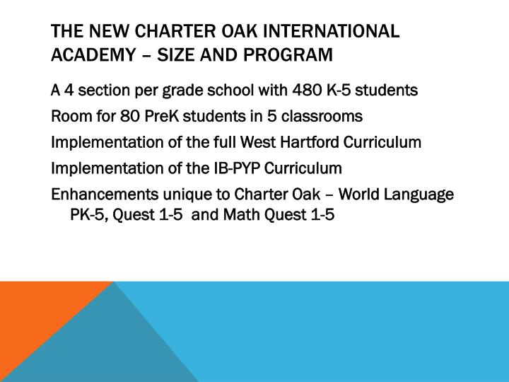 The new charter oak international academy size and program