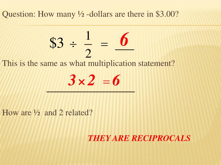 Question: How many ½ -dollars are there in $3.00?