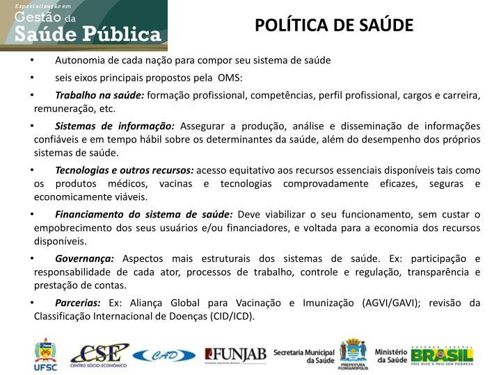 POLÍTICA DE SAÚDE
