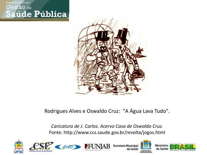 """Rodrigues Alves e Oswaldo Cruz:  """"A Água Lava Tudo""""."""