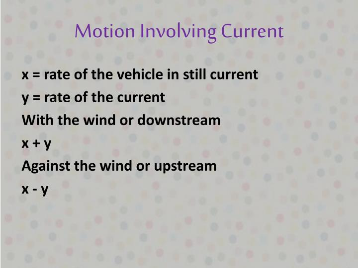 Motion Involving Current