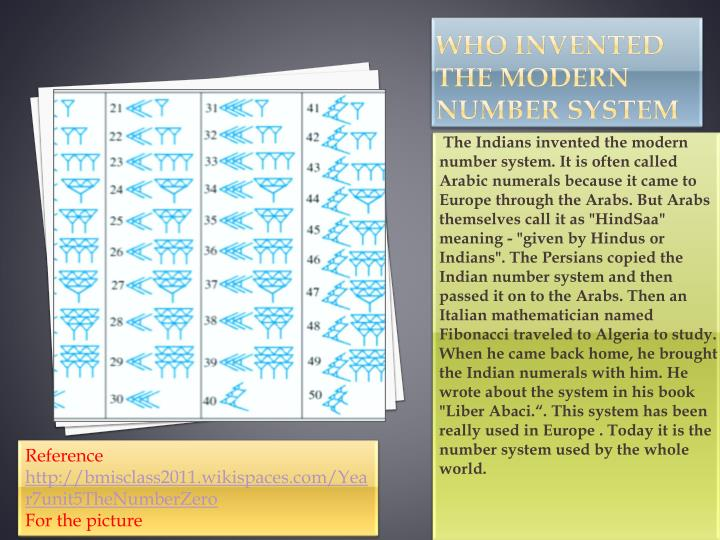 Who invented the modern number system