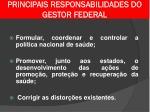 principais responsabilidades do gestor federal