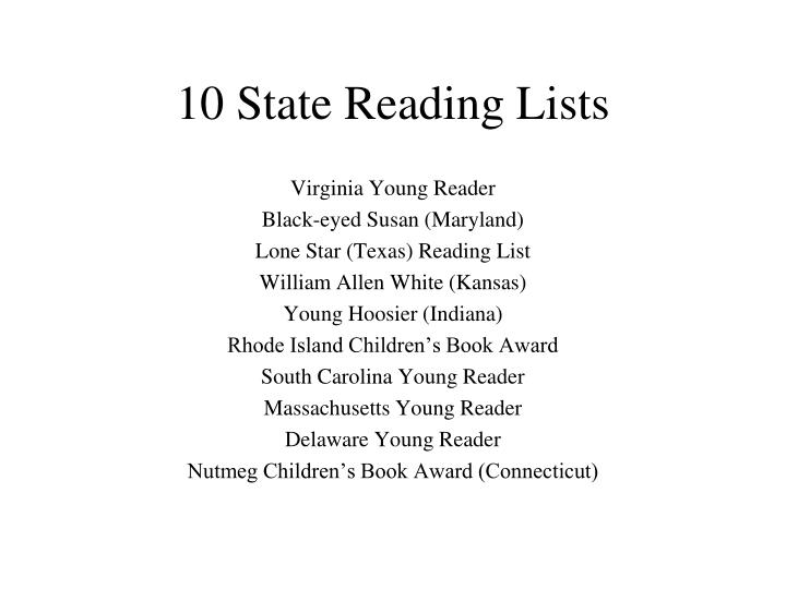 10 State Reading Lists