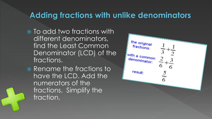 Adding fractions with