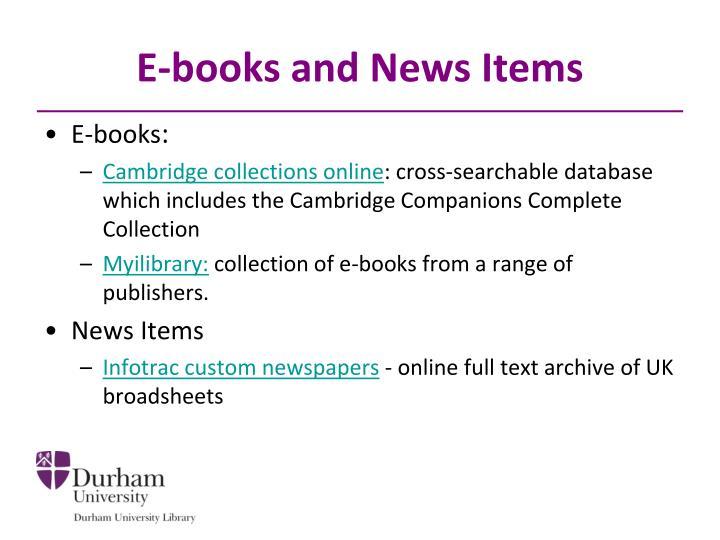 E-books and News Items