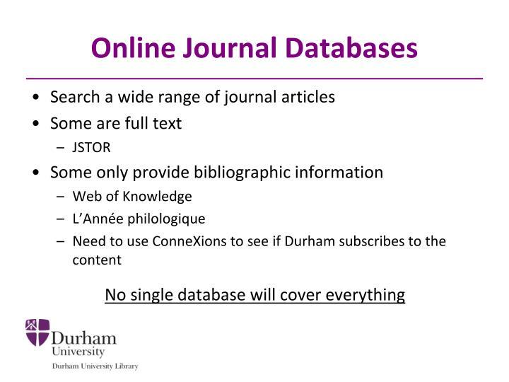 Online Journal Databases