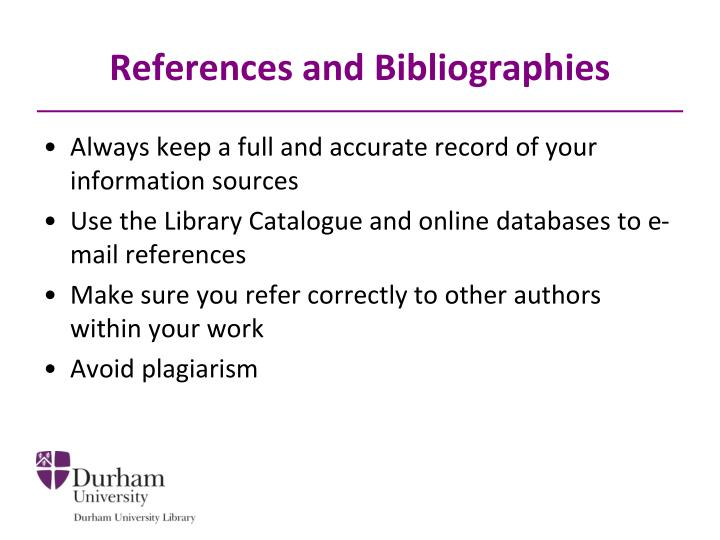 References and Bibliographies