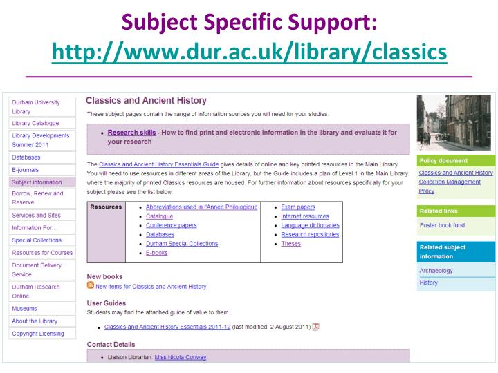 Subject Specific Support: