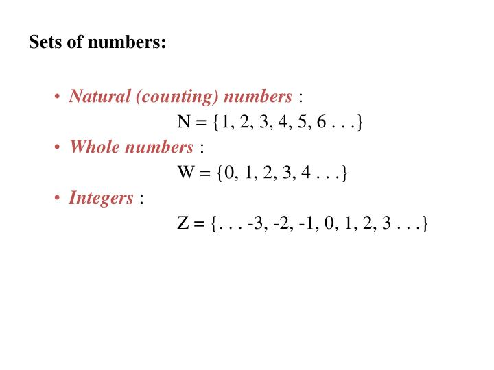 Sets of numbers: