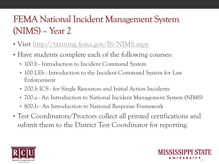 Fema national incident management system nims year 2