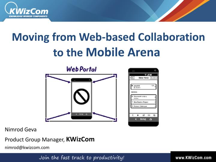 moving from web based collaboration to the mobile arena n.