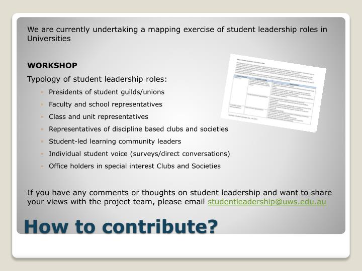 We are currently undertaking a mapping exercise of student leadership roles in Universities