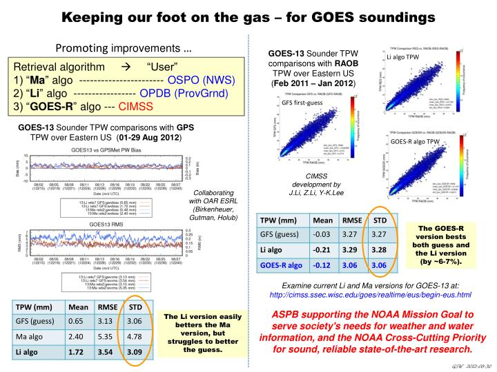 Keeping our foot on the gas for goes soundings