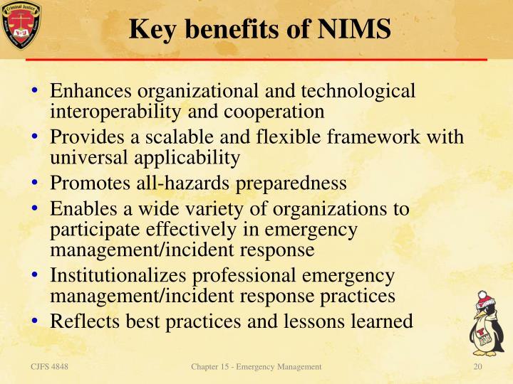 Key benefits of NIMS