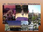 la destination drives attendance