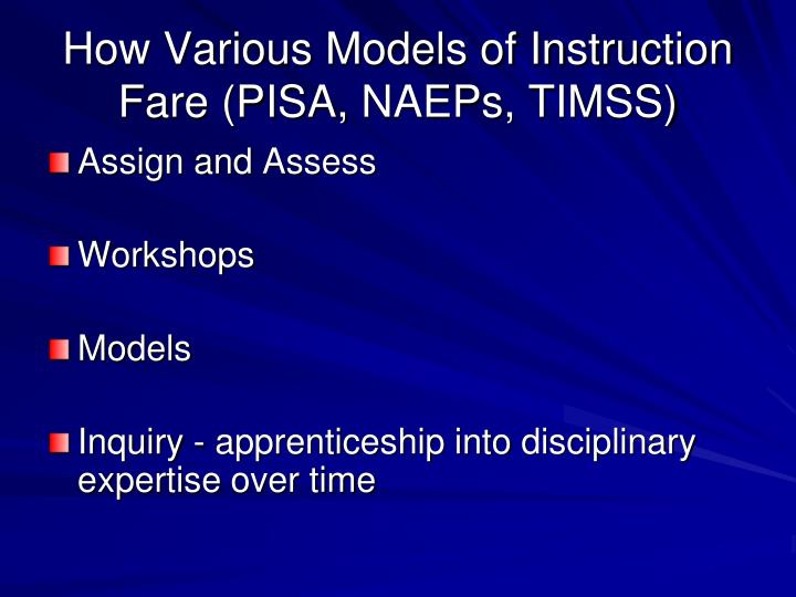 How Various Models of Instruction