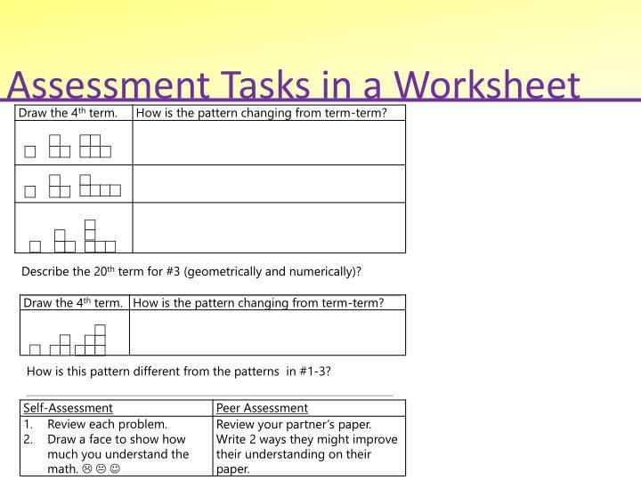 Assessment Tasks in a Worksheet