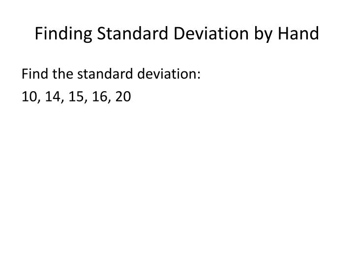 Finding Standard Deviation by Hand