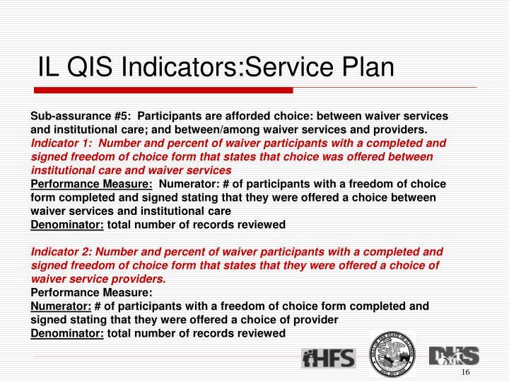 IL QIS Indicators:Service Plan