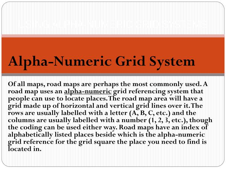 Using alpha numeric grid systems