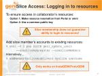 slice access logging in to resources