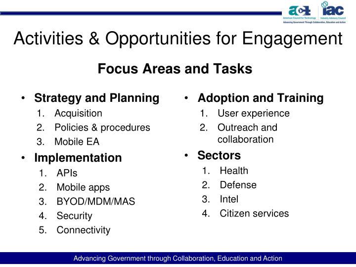 Activities & Opportunities for Engagement