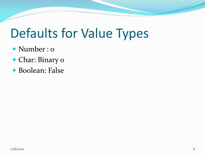 Defaults for Value Types