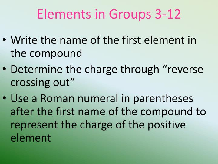 Elements in groups 3 12