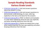 sample reading standards various grade levels