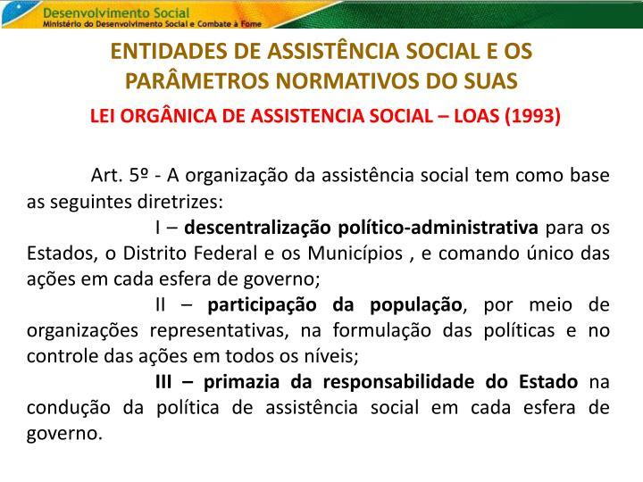 Entidades de assist ncia social e os par metros normativos do suas