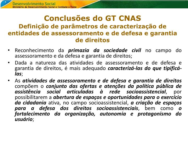 Conclusões do GT CNAS