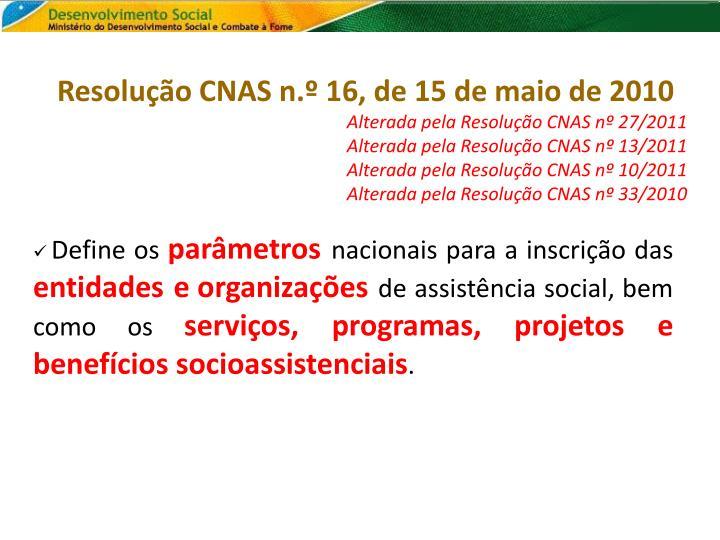 Resolução CNAS n.º 16, de 15 de maio de