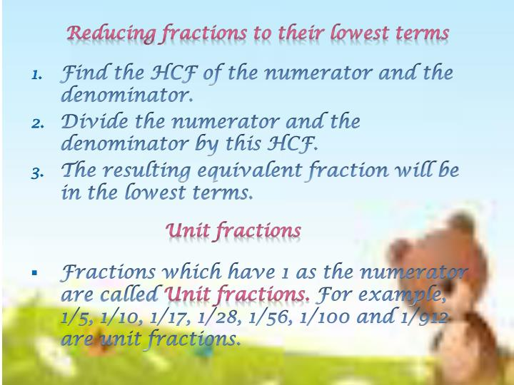 Reducing fractions to their lowest terms