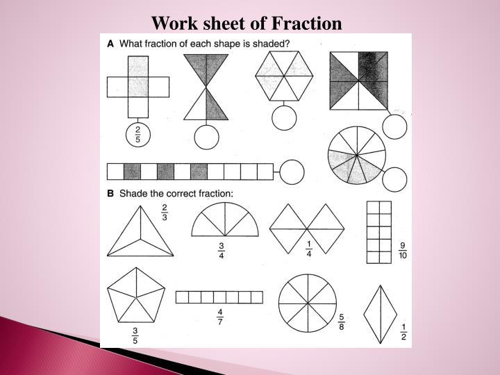Work sheet of Fraction