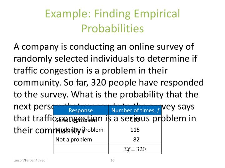 Example: Finding Empirical Probabilities