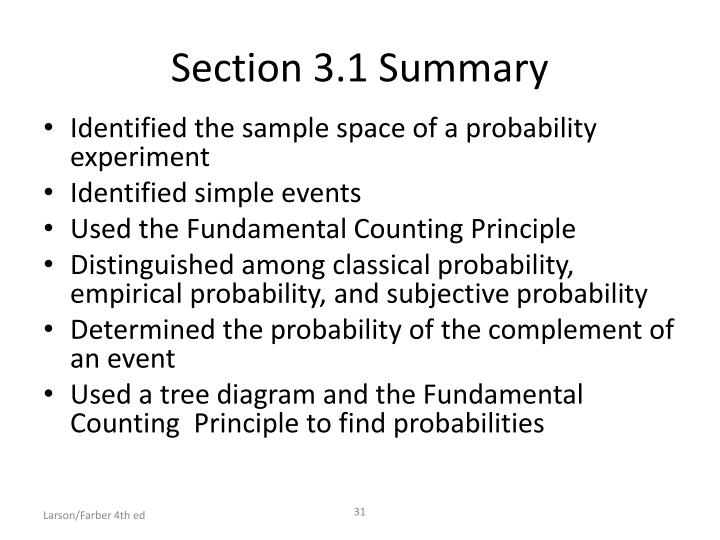 Section 3.1 Summary