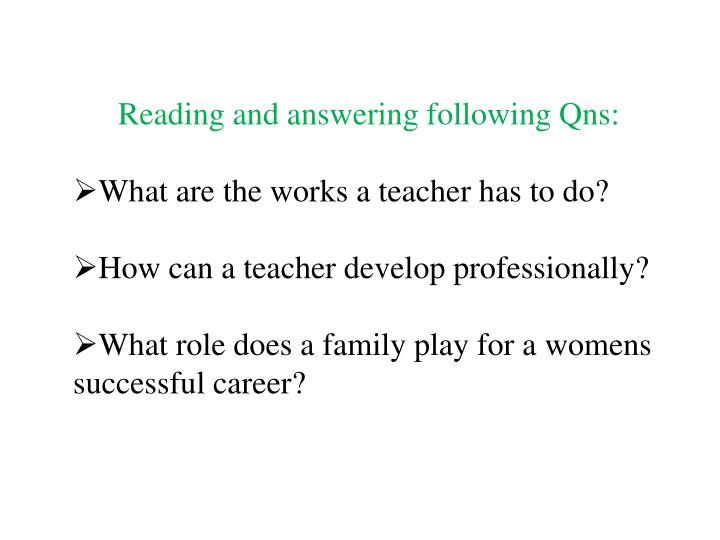 Reading and answering following