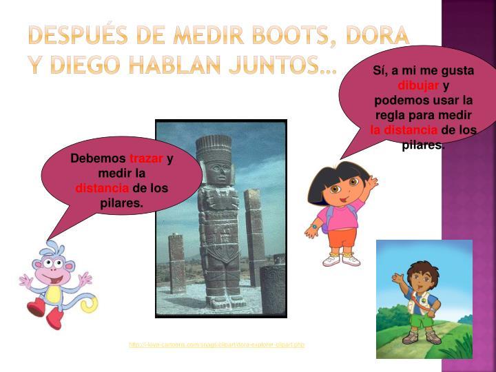 Después de medir Boots, Dora y Diego hablan juntos…