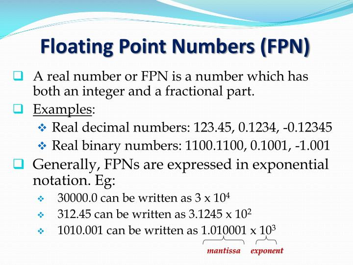 Floating Point Numbers (FPN)