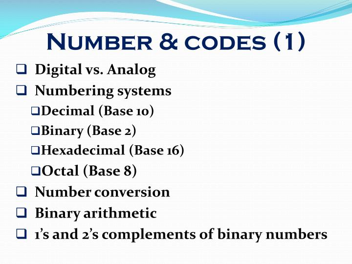Number codes 1