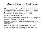memorization or realization