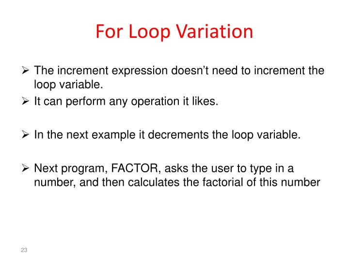 For Loop Variation