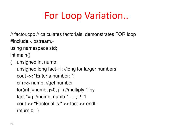 For Loop Variation..
