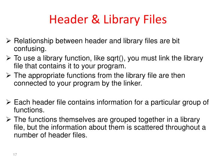 Header & Library Files