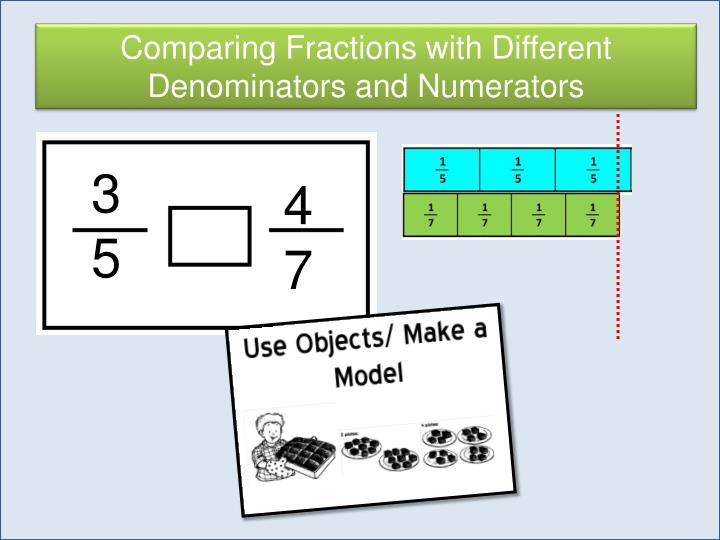 Comparing Fractions with Different Denominators and Numerators