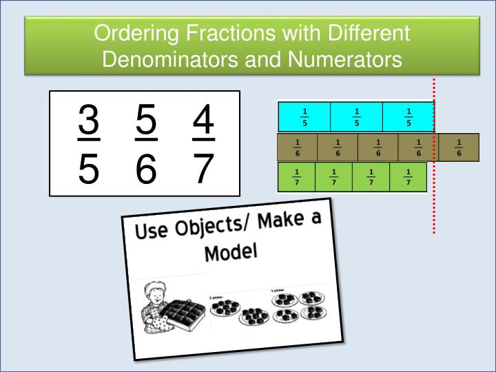 Ordering Fractions with Different Denominators and Numerators