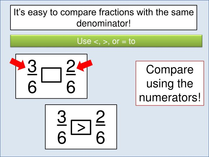 It's easy to compare fractions with the same denominator!
