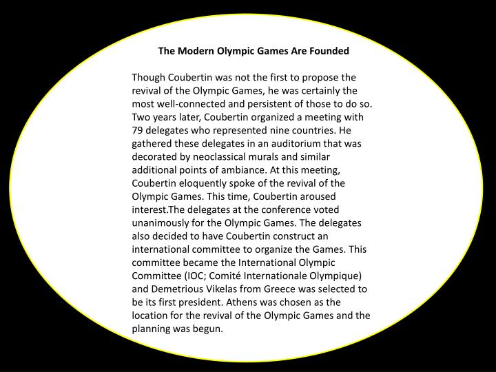 The Modern Olympic Games Are Founded